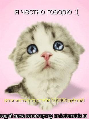 Котоматрица: я честно говорю :( если честно то с тебя 100000 рублей!