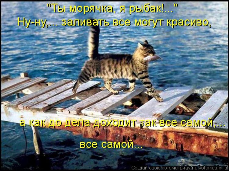 """Котоматрица: """"Ты морячка, я рыбак!...""""  Ну-ну,... заливать все могут красиво, а как до дела доходит так все самой,...  все самой..."""