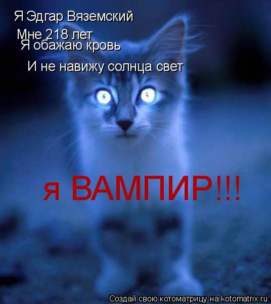 Котоматрица: Я Эдгар Вяземский Мне 218 лет Я обажаю кровь И не навижу солнца свет я ВАМПИР!!!