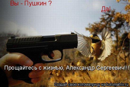 Котоматрица: Вы - Пушкин ? Да! Прощайтесь с жизнью, Александр Сергеевич!!!