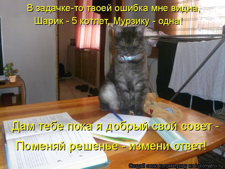 Котоматрица: Шарик - 5 котлет, Мурзику - одна! Дам тебе пока я добрый свой совет -   В задачке-то твоей ошибка мне видна,  Поменяй решенье - измени ответ!