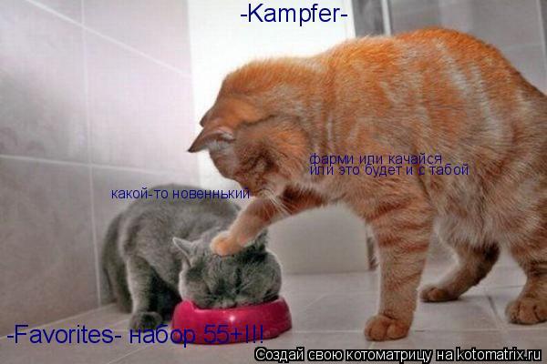 Котоматрица: -Favorites- набор 55+!!! -Kampfer- какой-то новеннький фарми или качайся или это будет и с табой