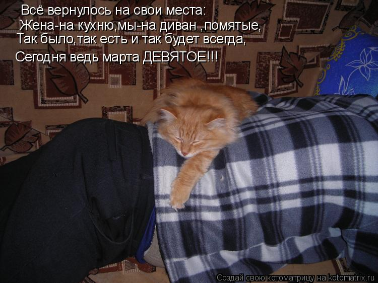 Котоматрица: Жена-на кухню,мы-на диван ,помятые, Сегодня ведь марта ДЕВЯТОЕ!!! Всё вернулось на свои места: Так было,так есть и так будет всегда,
