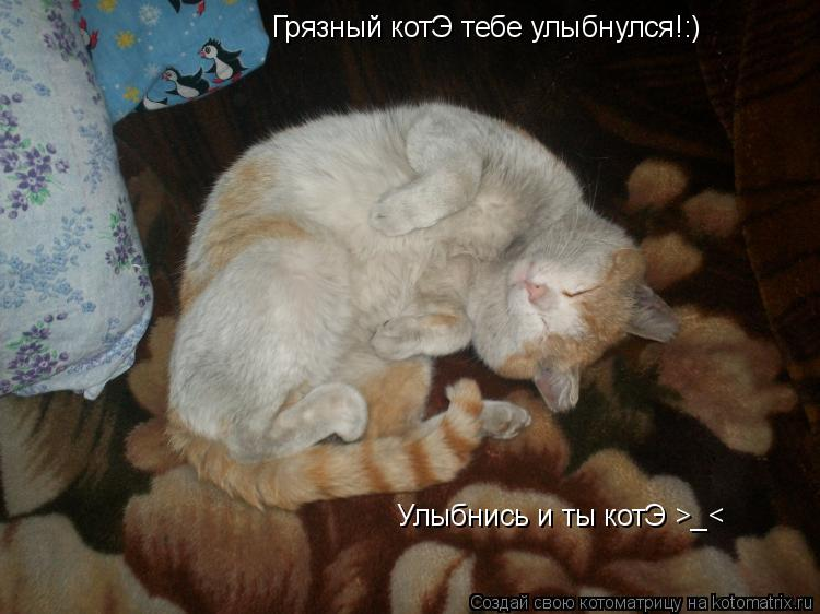 Котоматрица: Грязный котЭ тебе улыбнулся!:) Улыбнись и ты котЭ >_<