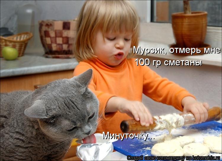 Котоматрица: Мурзик, отмерь мне 100 гр сметаны Минуточку...