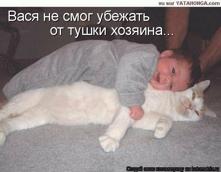 Котоматрица: Вася не смог убежать от тушки хозяина...