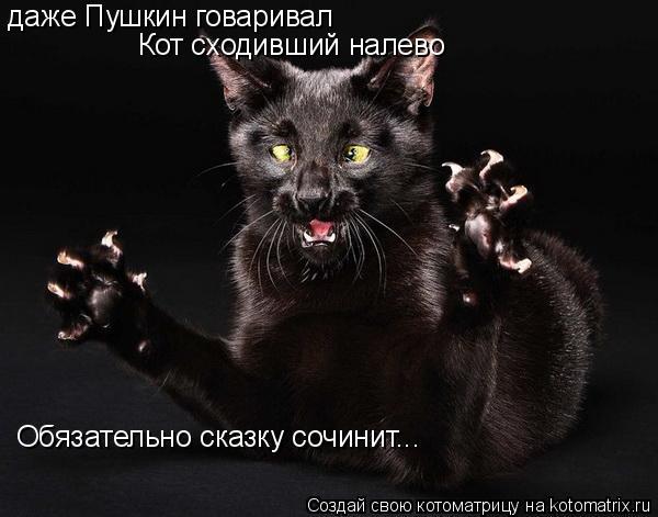 Котоматрица: даже Пушкин говаривал Кот сходивший налево Обязательно сказку сочинит...