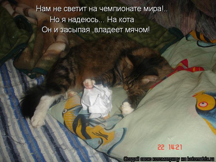 Котоматрица: Нам не светит на чемпионате мира!.. Но я надеюсь... На кота Он и засыпая ,владеет мячом!