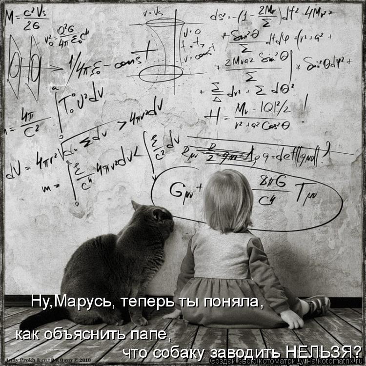 Котоматрица: Ну,Марусь, теперь ты поняла, как объяснить папе,  что собаку заводить НЕЛЬЗЯ?