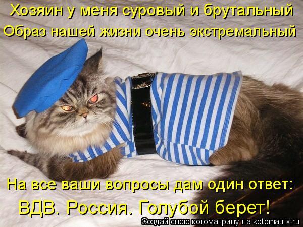 Котоматрица: Хозяин у меня суровый и брутальный Образ нашей жизни очень экстремальный На все ваши вопросы дам один ответ: ВДВ. Россия. Голубой берет!
