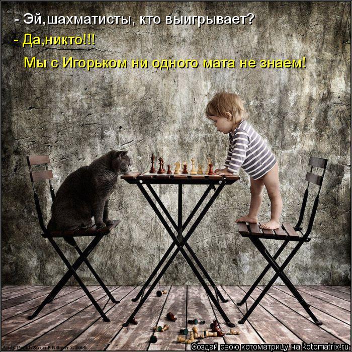 - Эй,шахматисты, кто выигрывает? - Да,никто!!! Мы с Игорьком ни одного