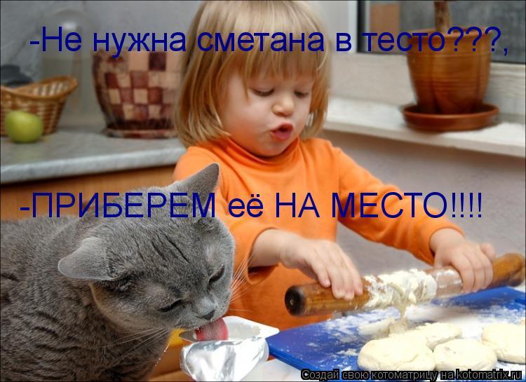 Котоматрица: -Не нужна сметана в тесто???, -ПРИБЕРЕМ её НА МЕСТО!!!!