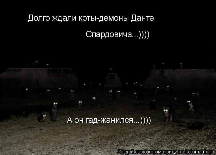 Котоматрица: Долго ждали коты-демоны Данте Спардовича...)))) А он гад-жанился...))))