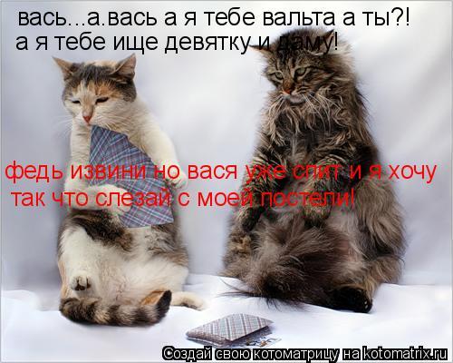 Котоматрица: вась...а.вась а я тебе вальта а ты?! а я тебе ище девятку и даму! федь извини но вася уже спит и я хочу так что слезай с моей постели!