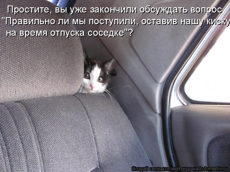"""Котоматрица: Простите, вы уже закончили обсуждать вопрос """"Правильно ли мы поступили, оставив нашу киску на время отпуска соседке""""?"""