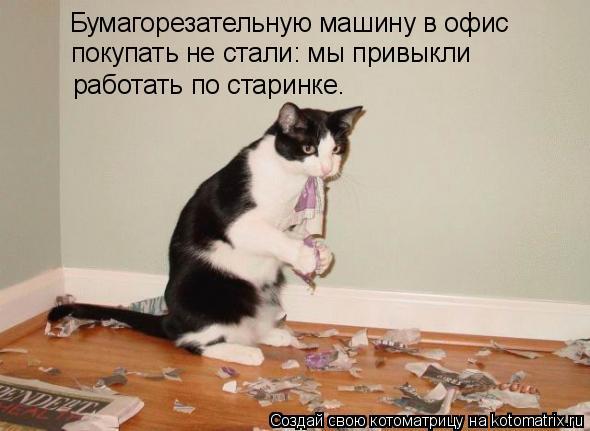 Котоматрица: Бумагорезательную машину в офис покупать не стали: мы привыкли работать по старинке.