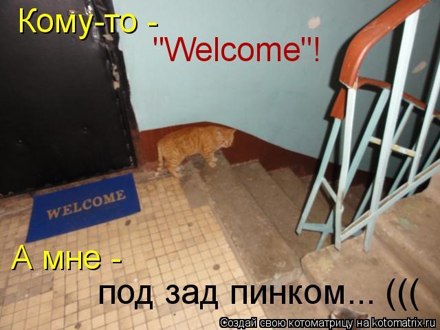"""Котоматрица: Кому-то -  """"Welcome""""! А мне -  под зад пинком... ((("""