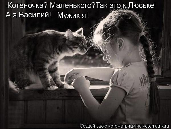 Котоматрица: -Котёночка? Маленького?Так это к Люське! А я Василий!  Мужик я!