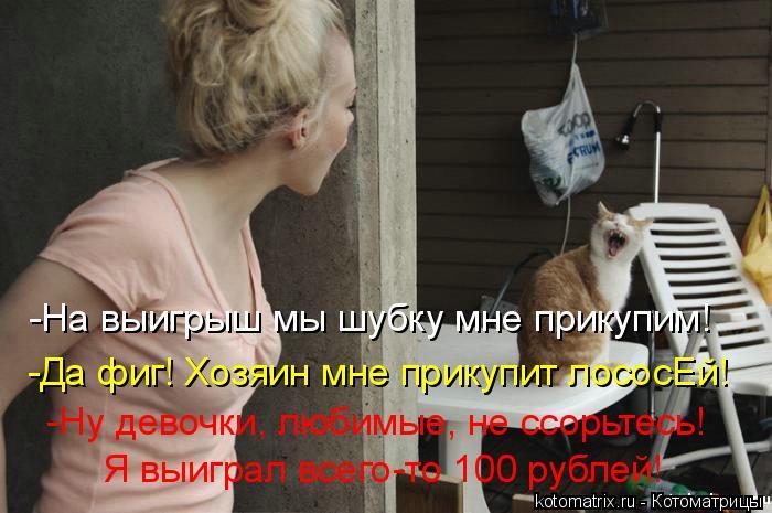 Котоматрица: -На выигрыш мы шубку мне прикупим! -Да фиг! Хозяин мне прикупит лососЕй! -Ну девочки, любимые, не ссорьтесь! Я выиграл всего-то 100 рублей!