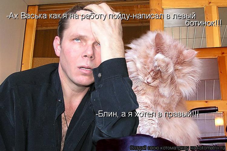 Котоматрица: -Ах Васька как я на работу пойду-написал в левый ботинок!!! -Блин, а я хотел в правый!!!