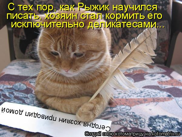 Котоматрица: Сегодня хозяин приводил домой С тех пор, как Рыжик научился писать, хозяин стал кормить его исключительно деликатесами...