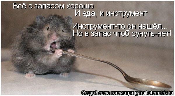 Котоматрица: Всё с запасом хорошо И еда, и инструмент Инструмент-то он нашёл... Но в запас чтоб сунуть-нет!
