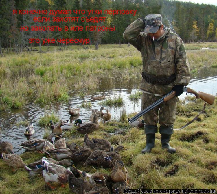 Котоматрица: я конечно думал что утки перловку если захотят съедят но закопать в иле патроны это уже чересчур