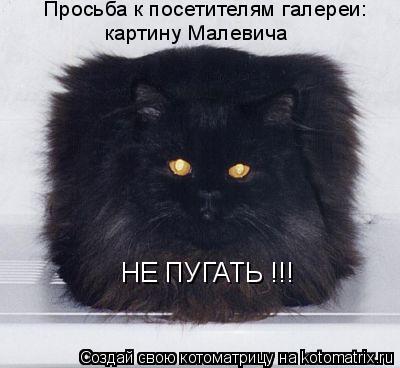 Котоматрица: Просьба к посетителям галереи: картину Малевича НЕ ПУГАТЬ !!!