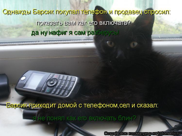 Котоматрица: Однажды Барсик покупал телефон и продавец спросил: показать вам как его включать? да ну нафиг я сам разберусь! Барсик приходит домой с телеф