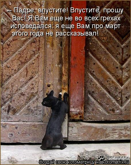 Котоматрица - -- Падре, впустите! Впустите, прошу  Вас! Я Вам еще не во всех грехах