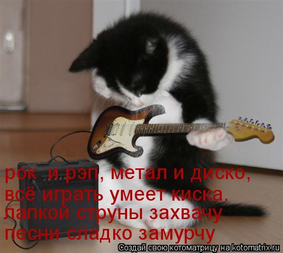 Котоматрица: рок  и рэп, метал и диско, всё играть умеет киска. песни сладко замурчу лапкой струны захвачу