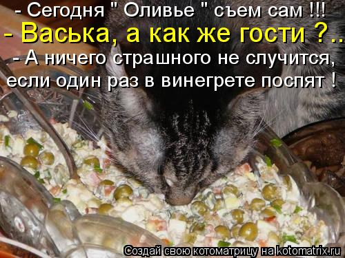 """Котоматрица: - Сегодня """" Оливье """" съем сам !!! - Васька, а как же гости ?.. - А ничего страшного не случится, если один раз в винегрете поспят !"""