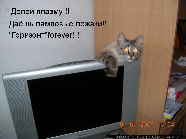 """Котоматрица: Долой плазму!!! Даёшь ламповые лежаки!!! """"Горизонт""""forever!!!"""