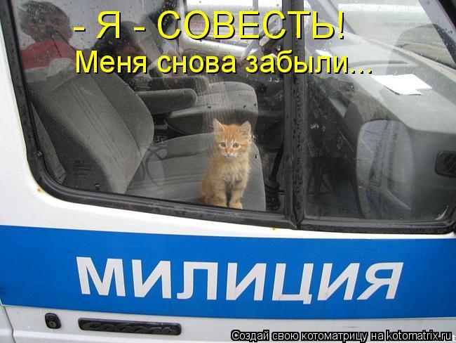 Котоматрица: - Я - СОВЕСТЬ!  Меня снова забыли...