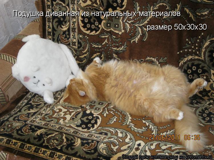Котоматрица: Подушка диванная из натуральных материалов размер 50х30х30