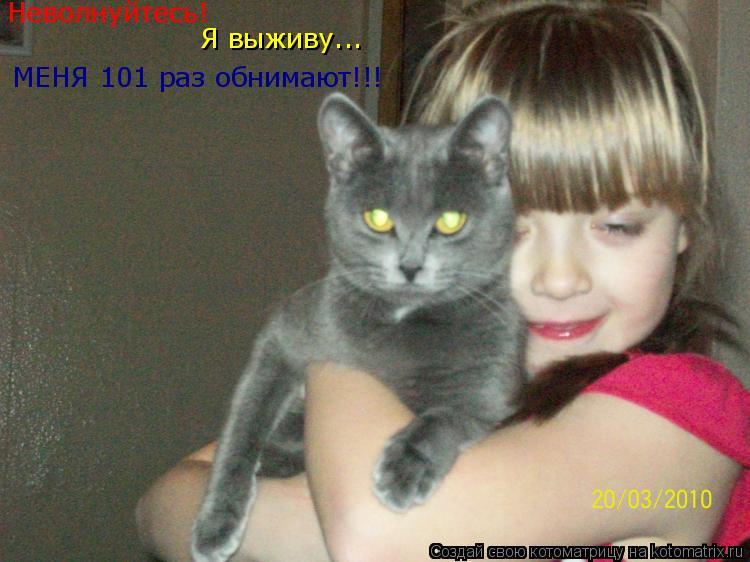 Котоматрица: Неволнуйтесь! Я выживу... МЕНЯ 101 раз обнимают!!!