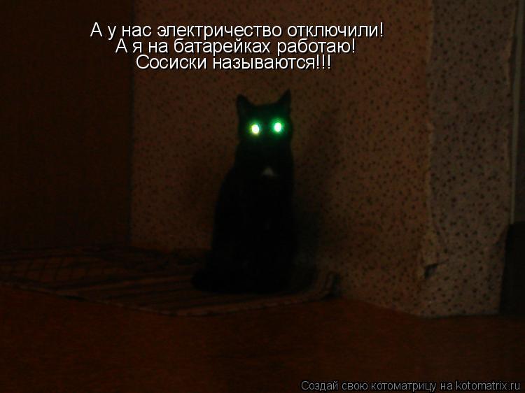 Котоматрица: А у нас электричество отключили! А я на батарейках работаю! Сосиски называются!!!
