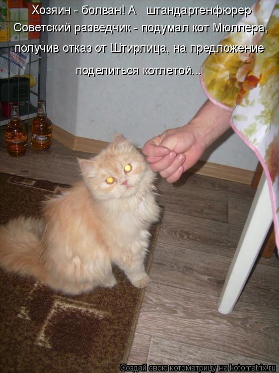 Котоматрица: Хозяин - болван! А   штандартенфюрер   Советский разведчик - подумал кот Мюллера,  получив отказ от Штирлица, на предложение поделиться котле