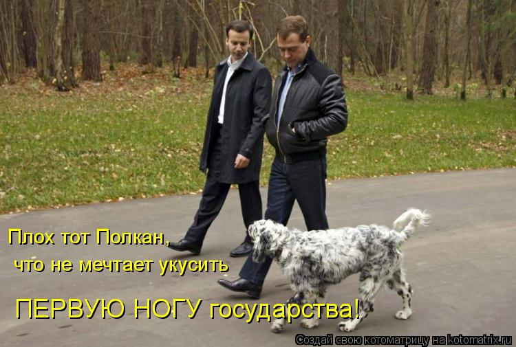 Котоматрица: Плох тот Полкан,  что не мечтает укусить ПЕРВУЮ НОГУ государства!