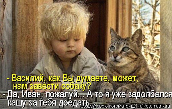 Котоматрица - - Василий, как Вы думаете, может, нам завести собаку? - Да, Иван, пожа