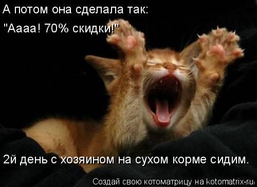 """Котоматрица: А потом она сделала так: """"Аааа! 70% скидки!"""" 2й день с хозяином на сухом корме сидим."""