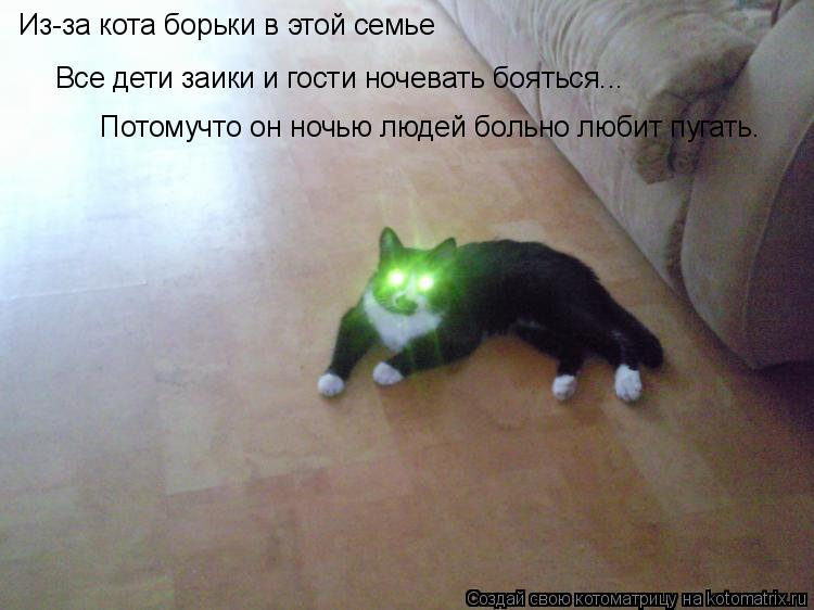 Котоматрица: Из-за кота борьки в этой семье  Все дети заики и гости ночевать бояться... Потомучто он ночью людей больно любит пугать.