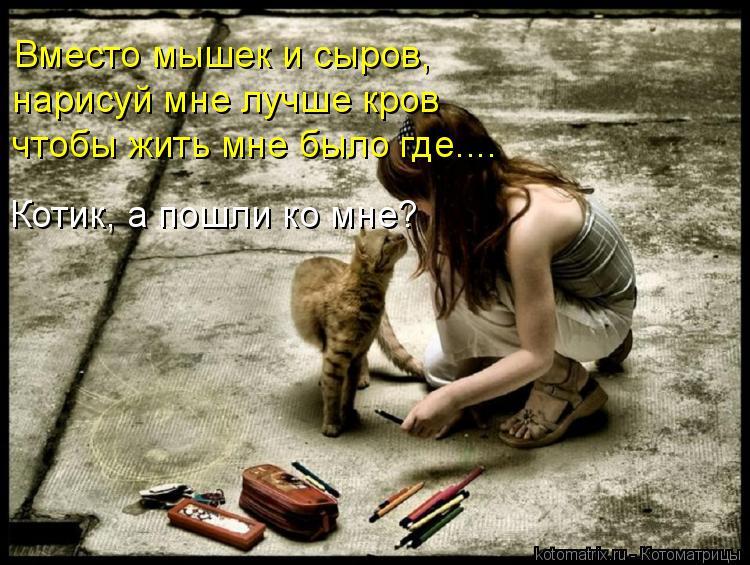 Котоматрица: Вместо мышек и сыров,  нарисуй мне лучше кров чтобы жить мне было где.... Котик, а пошли ко мне?