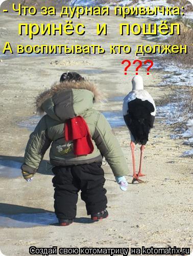 Котоматрица: - Что за дурная привычка: принёс  и  пошёл А воспитывать кто должен ? ???