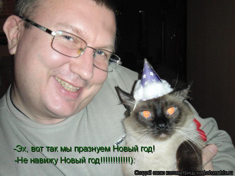 Котоматрица: -Эх, вот так мы празнуем Новый год! -Не навижу Новый год!!!!!!!!!!!!):