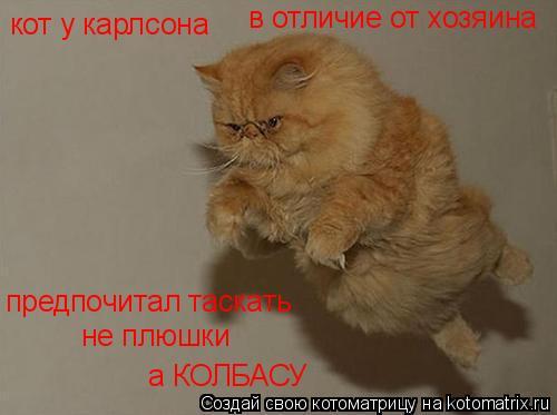 Котоматрица: кот у карлсона в отличие от хозяина предпочитал таскать не плюшки а КОЛБАСУ