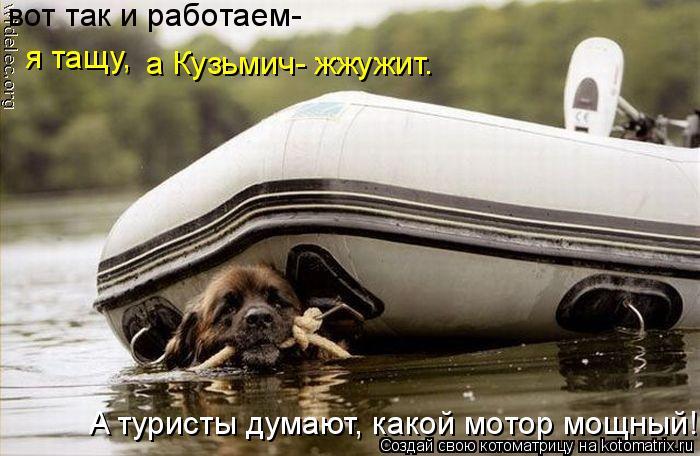 Котоматрица: вот так и работаем- я тащу, а Кузьмич- жжужит. A туристы думают, какой мотор мощный!
