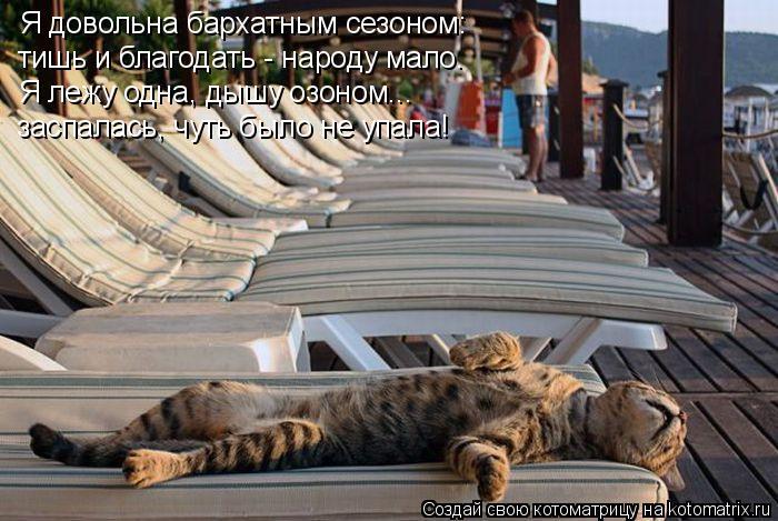 Котоматрица: Я довольна бархатным сезоном: тишь и благодать - народу мало. Я лежу одна, дышу озоном... заспалась, чуть было не упала!