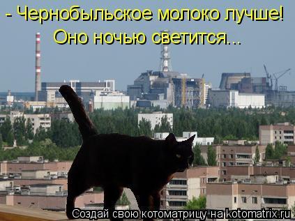 Котоматрица: - Чернобыльское молоко лучше! Оно ночью светится...