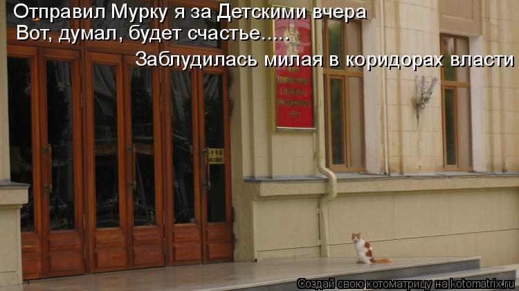 Котоматрица: Заблудилась милая в коридорах власти Вот, думал, будет счастье..... Отправил Мурку я за Детскими вчера